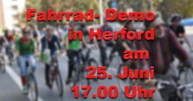 Fahrrad Demo am 25. Juni um 17.00 UHr am Rathausvorplatz