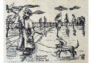 """Foto 2019-02-22-Nachtwächter-auf-Abwegen.jpg: In der im Juni 1957 erschienenen Ausgabe der """"Ravensberger Heimat"""" erinnerte Luise Bücker an Nachtwächter """"Kübenbrink"""", den sie zeichnerisch mit """"Hurlbrincks Dackel Schnurzel"""" auf die Straßen im """"Buine"""" des Jahres 1870 schickte."""