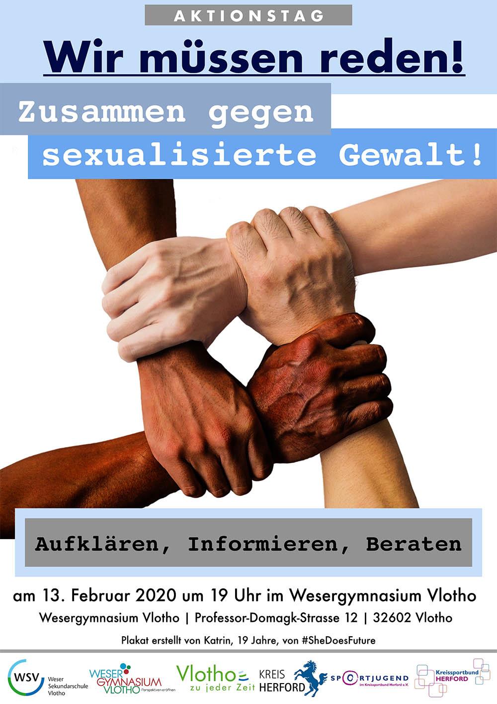 Die Stadt Vlotho, der Kreis Herford und die Sportjugend im Kreissportbund laden ein zum Aktionstag gegen sexualisierte Gewalt am Donnerstag, den 13. Februar 2020 ab 19 Uhr in die Aula des Weser-Gymnasiums Vlotho.